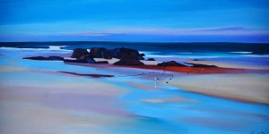 "Lone Gull By The Outcrop 20""x40"""