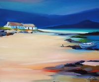 "Berneray Bothies & Boat 20""x24"""