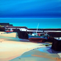 "Walled Harbour, Ness, Lewis 32""x32"""
