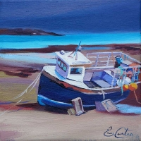 "Beached Fishing Boat 8""x8"""