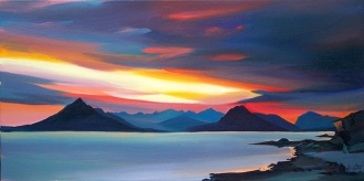 "Red Through The Cuillin 16""x32"" £300 Mounted"