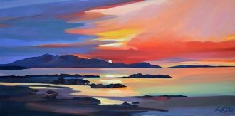"Setting Sun Arran 16""x32"" £300 Mounted"