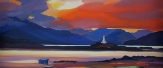 "Lighthouse Reflections 16""x32"" £300 Mounted"
