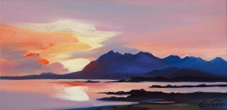"Red Cuillin Sky 8""x16"" £110 Mounted"