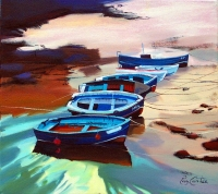 "Beached Boats 18""x18"""
