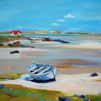 "Boat on the Strand 20""x20"" £250 Mounted"