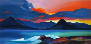 "Sunset Behind The Cuillin 8""x16"""