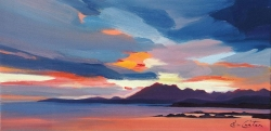 "Stormy Cuillin Sunset 8""x16"" £110 Mounted"