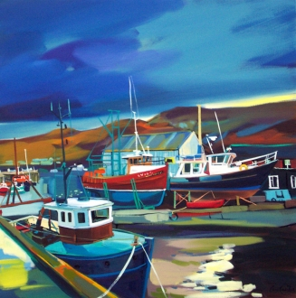 "Docked, Mallaig 20""x20"" £250 Mounted"