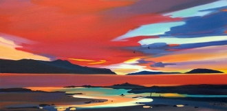 "Sunset In The Sound 16""x32"" £300 Mounted"