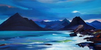 "Cuillin Blues 16""x32"" £300 Mounted"
