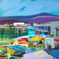 "Working Harbour, Mallaig 40""x40"""
