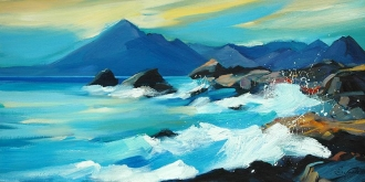 "Surge At Elgol 16""x32"" £300 Mounted"