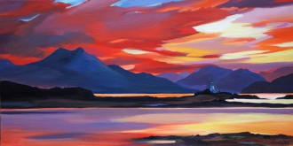 "Dawn Lighthouse 16""x32"" £300 Mounted"