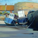"Hugging Boats, Beadnell 16""x16"""