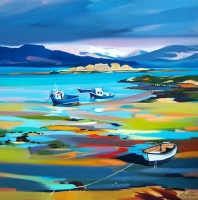 "Sleeping Boats, Armadale, Skye 32""x32"""